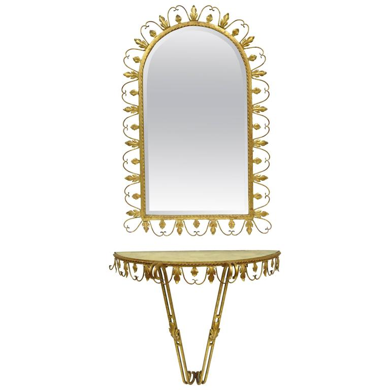 Hollywood Regency Gold Gilt Iron Mirror and Wall Mount Console by Adeco, Belgium