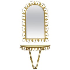 Adeco Italian Hollywood Regency Gold Gilt Metal Iron Mirror & Small Wall Console