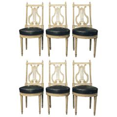 Set of Six Louis XVI Lyre Back Chairs
