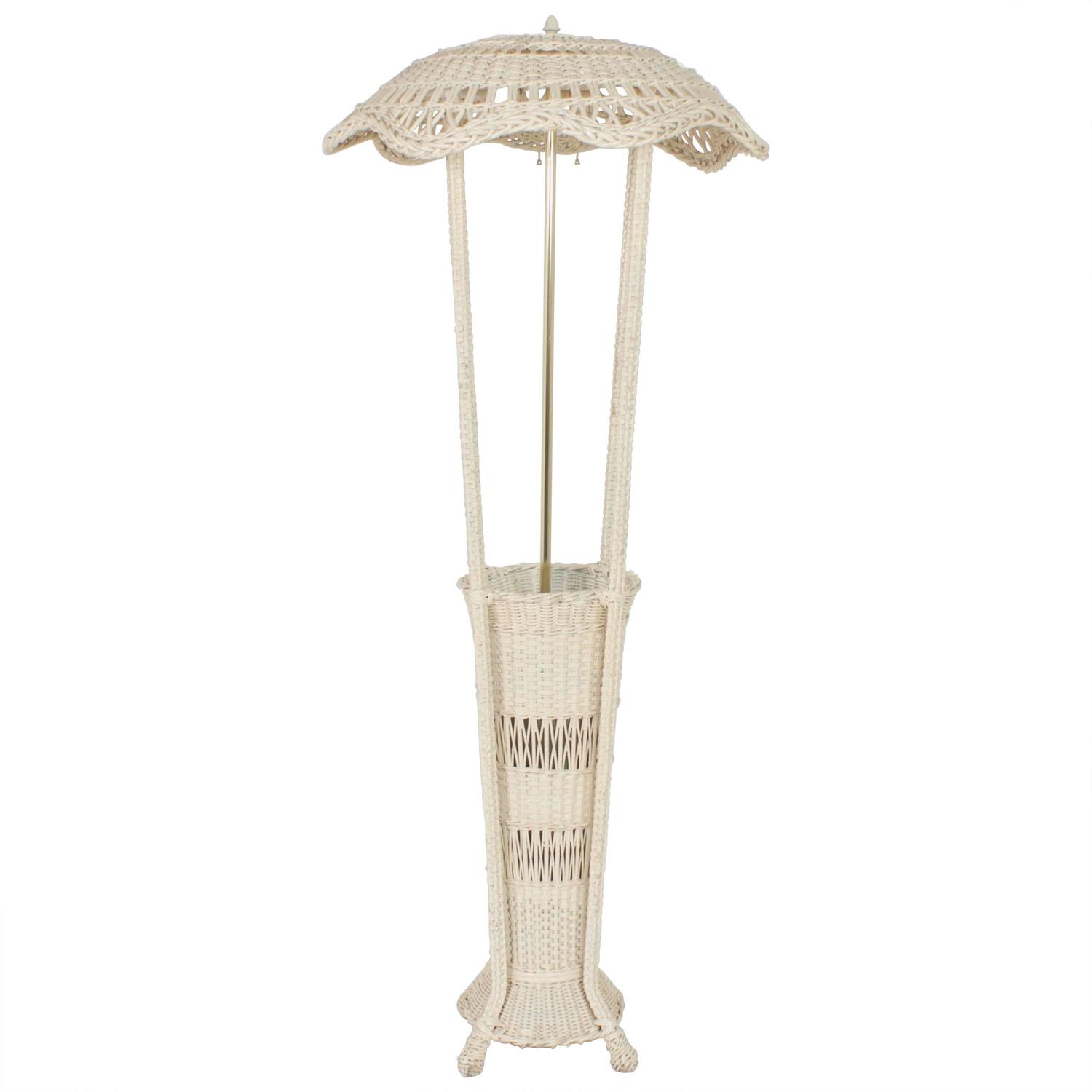 classic antique wicker floor lamp with a unique feature for sale at. Black Bedroom Furniture Sets. Home Design Ideas