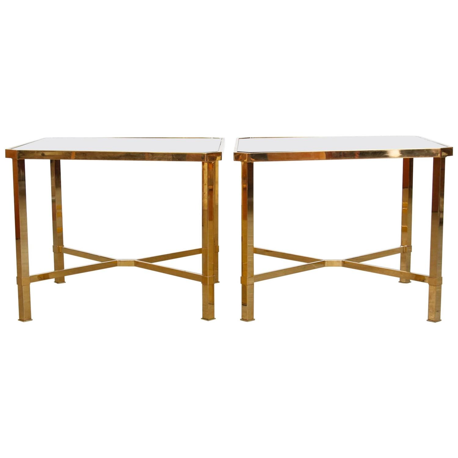 Pair Of Maison Jansen Style Gold-Plated Coffee Tables For