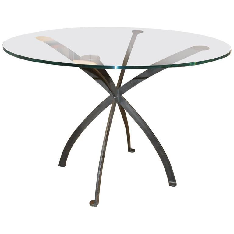 Early 20th Century Black Iron and Glass Cocktail Table