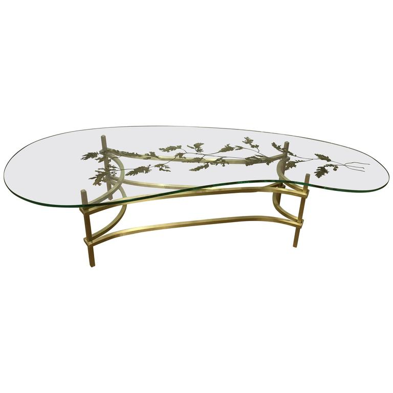 French Modern Cocktail Table Kidney Shaped Glass Top For