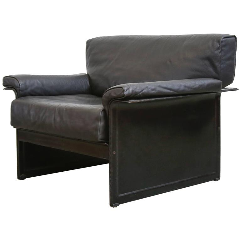 Tito Agnoli Black Leather Lounge Chair For Matteograssi For Sale