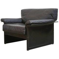 Tito Agnoli Black Leather Lounge Chair for Matteograssi