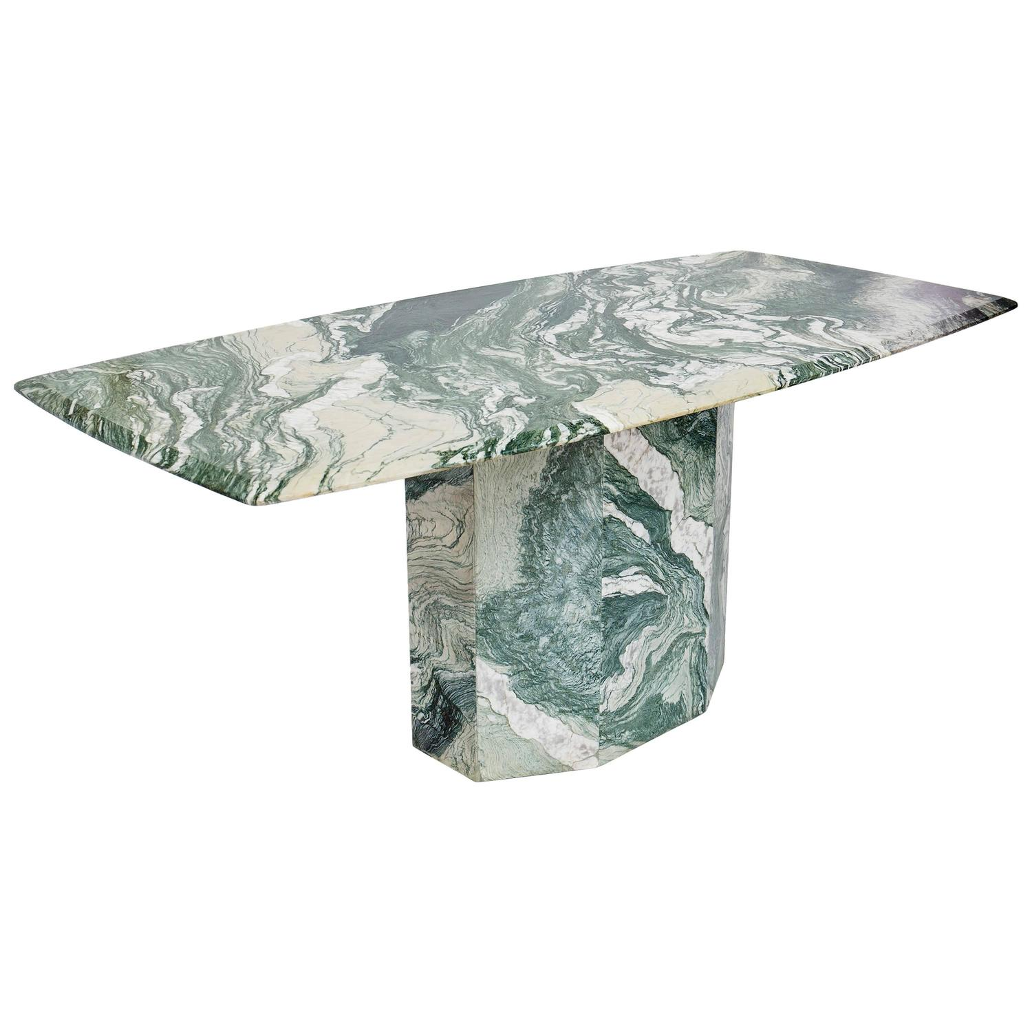 Perfect Verde Luana Marble Top And Base Dining Table At 1stdibs
