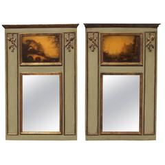 Pair of French or Italian Diminutive Trumeau Mirrors
