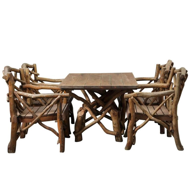 """Set of Rustic 1920s-1930s Garden """"Twig"""" Furniture"""