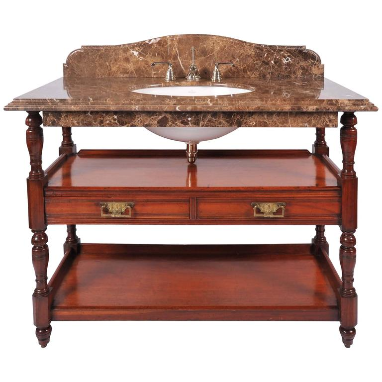 Antique Style Marble Top Mahogany Washstand At 1stdibs