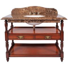Antique Style Marble-Top Mahogany Washstand
