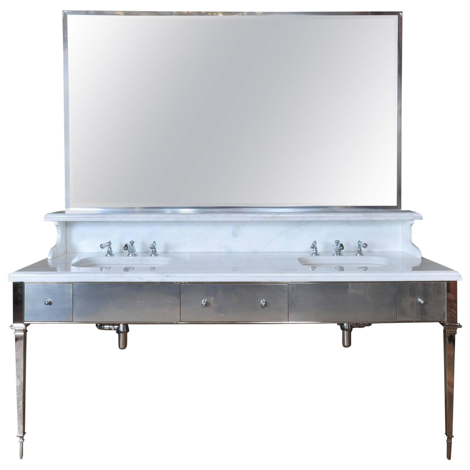 Deco style marble and chrome double sink washstand at 1stdibs Double sink washstand