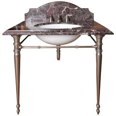 Marble and Nickel Washstand Sink