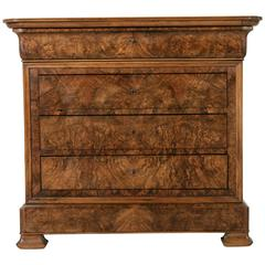 Early 19th Century French Louis Philippe Period Bookmatched Walnut Chest Commode