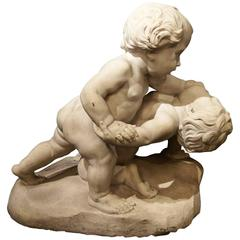 Wonderful Antique Italian Carved Marble Group of Two Children wrestling