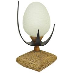 Lynard of California Sculptural Cork, Crackled Glass and Walnut Egg Table Lamp