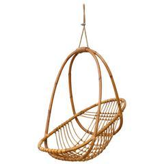 Retro Hanging Bamboo Egg Basket Chair