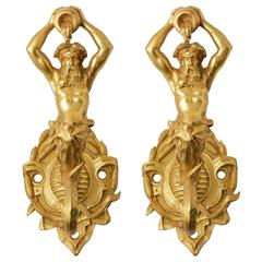 Pair of 19th Century French Large Bronze Dore Neptune Motif Hooks
