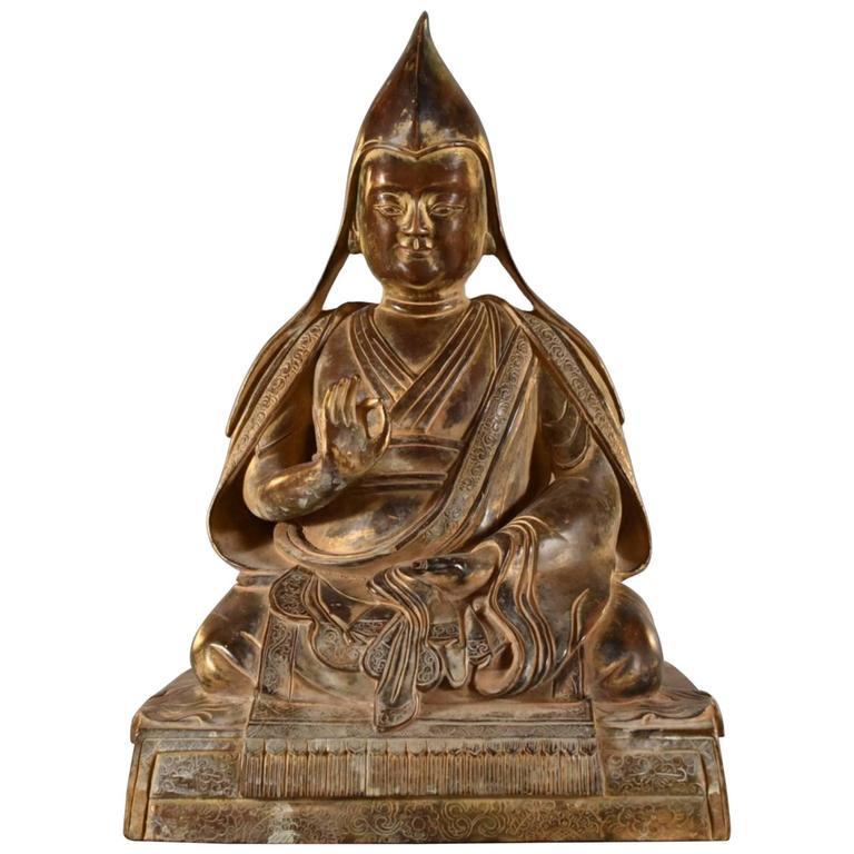 18th Century Sino-Tibetan Bronze Figure of Tsongkhapa Buddha