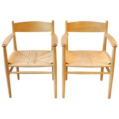 Set of Two CH37 Armchairs by Hans Wegner for Carl Hansen & Søn, Denmark, 1960s