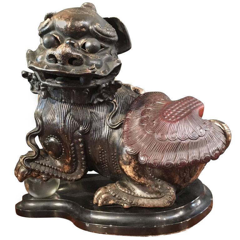 """Chinese """"Wu Nanshi"""" Zisha / Yixing Clay Foo Lion Censer"""