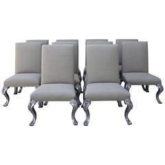 Set of Ten French Silvered and Linen Dining Chairs