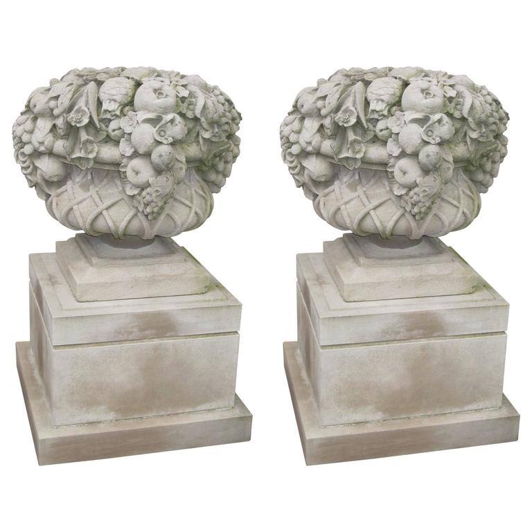 Pair of Monumental Carved Stone Garden Fruit Basket from Famed Vouziers Mansion