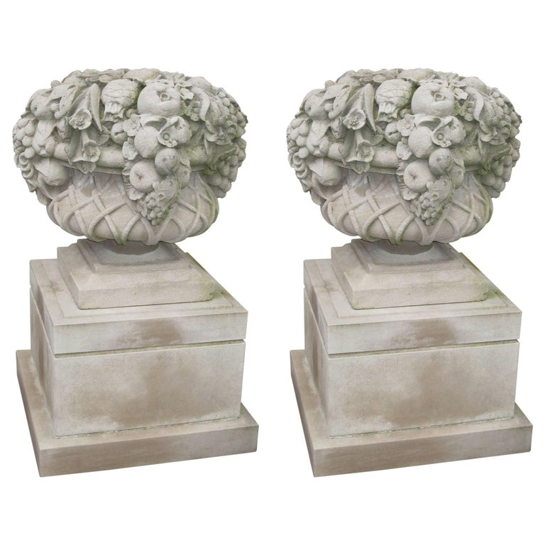 Pair of Monumental Carved Stone Garden Fruit Basket from Famed Vouziers Mansion For Sale