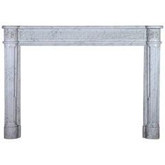 18th Century Louis XVI Carrara Marble Original Antique Fireplace Mantel