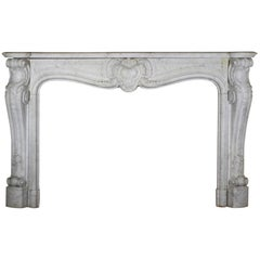 19th Century Original Antique Fireplace Mantle in Carrara Marble