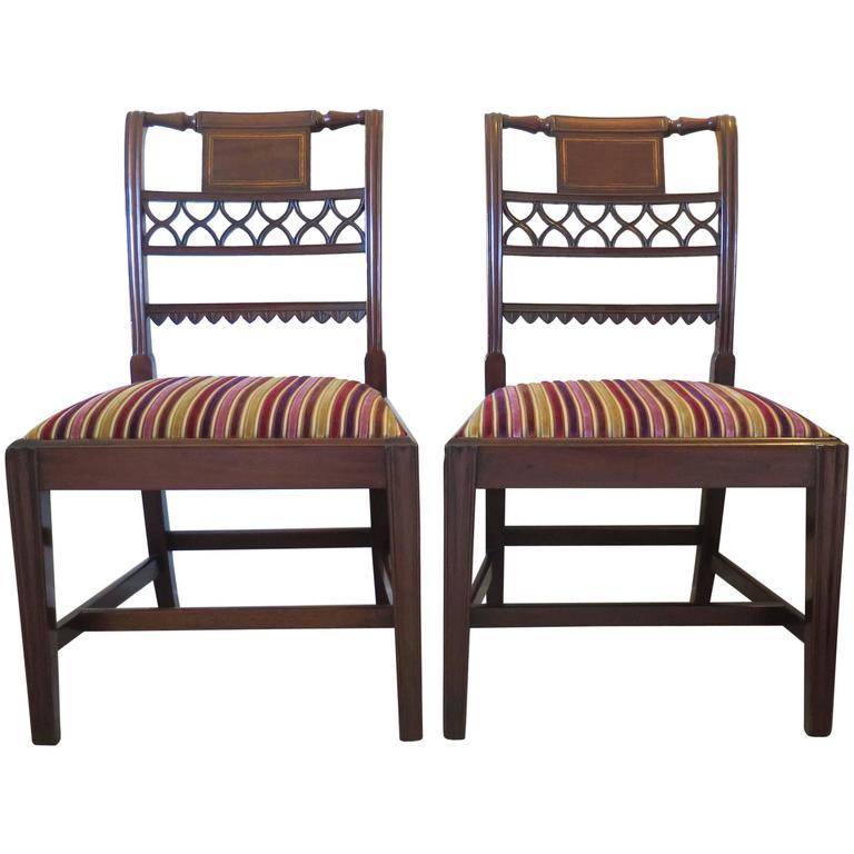 Fine Pair of Georgian Sheraton Mahogany Side Chairs, English George III Ca. 1790