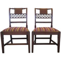 Fine Pair of  Mahogany Side Chairs, English George III Sheraton period Ca. 1790