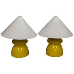 Pair of Midcentury Italian Yellow Ceramic Lamps