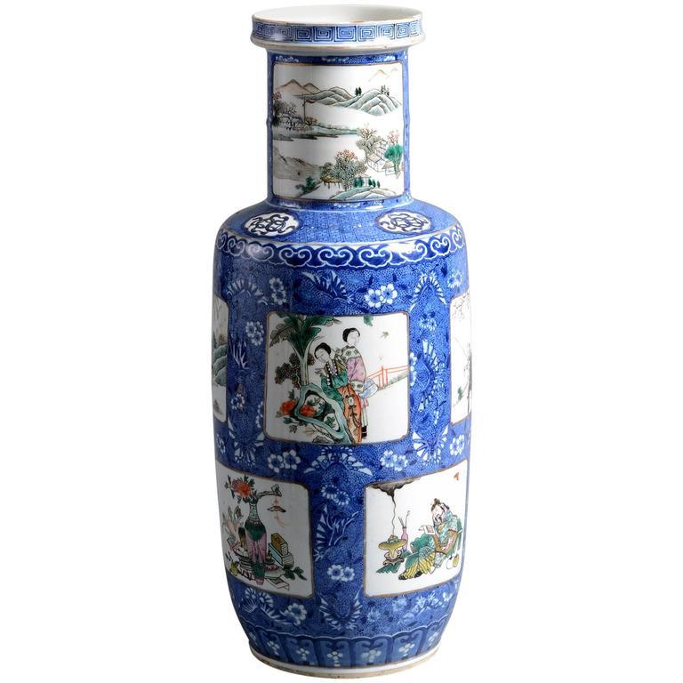 19th Century Famille Verte Blue Ground Porcelain Vase For Sale