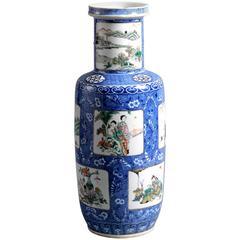 19th Century Famille Verte Blue Ground Porcelain Vase