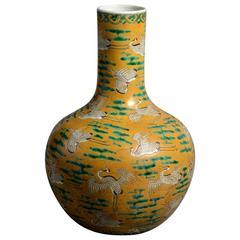 19th Century Yellow Ground Bottle Vase