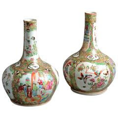 Pair of 19th Century Canton Porcelain Bottle Vases