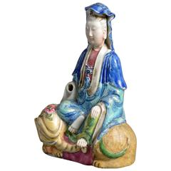 19th Century Porcelain Figure of a Figure Seated Upon an Elephant