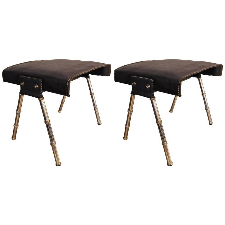 Beautiful Pair of Jacques Adnet Stools