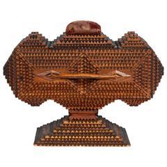 Fine Sculptural Tramp Art Pedestal Box