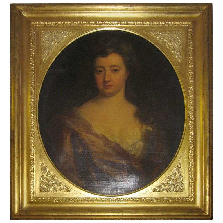 18th Century Portrait of Lady Oil on Canvas