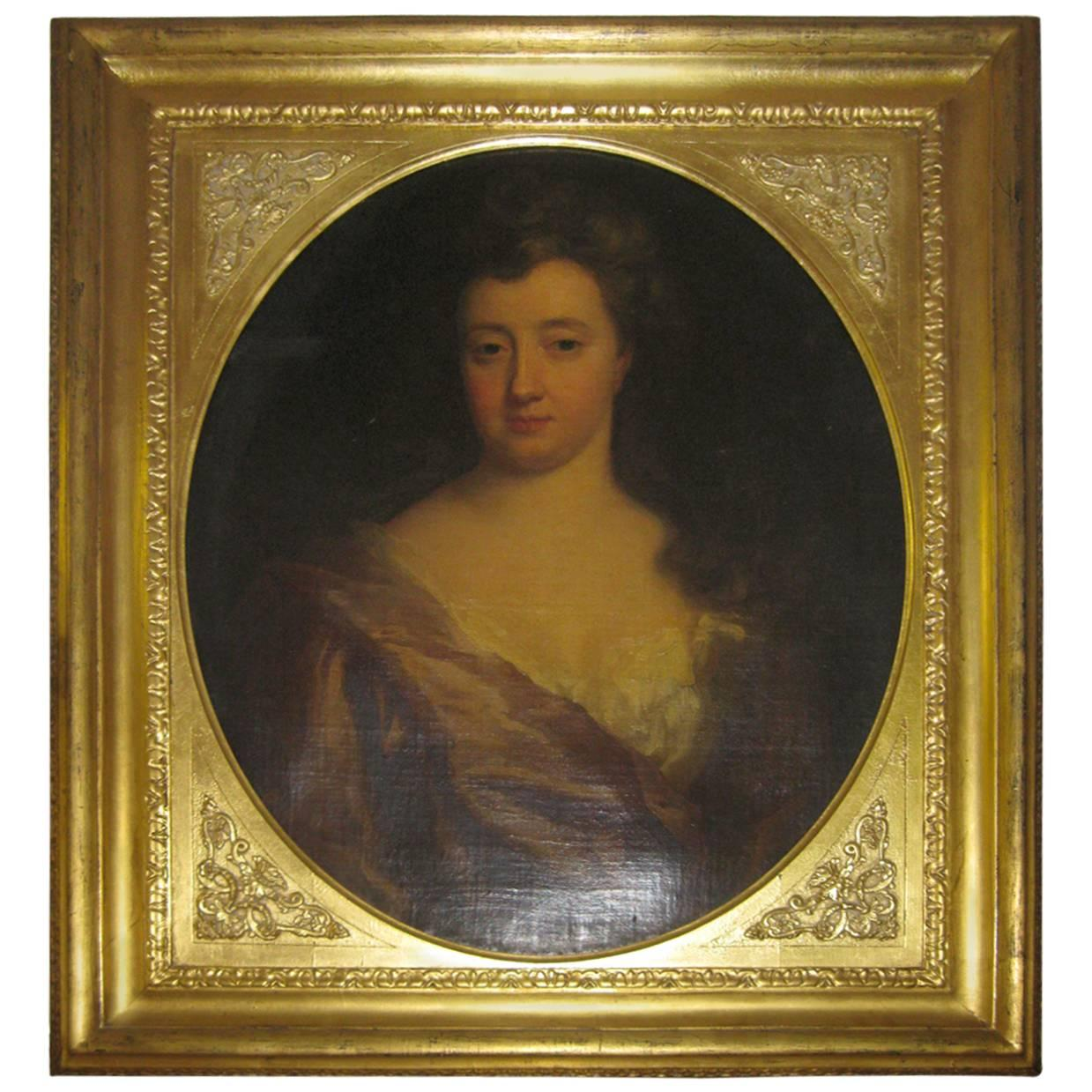 18th century Portrait of Lady Oil on Canvas in Giltwood Frame