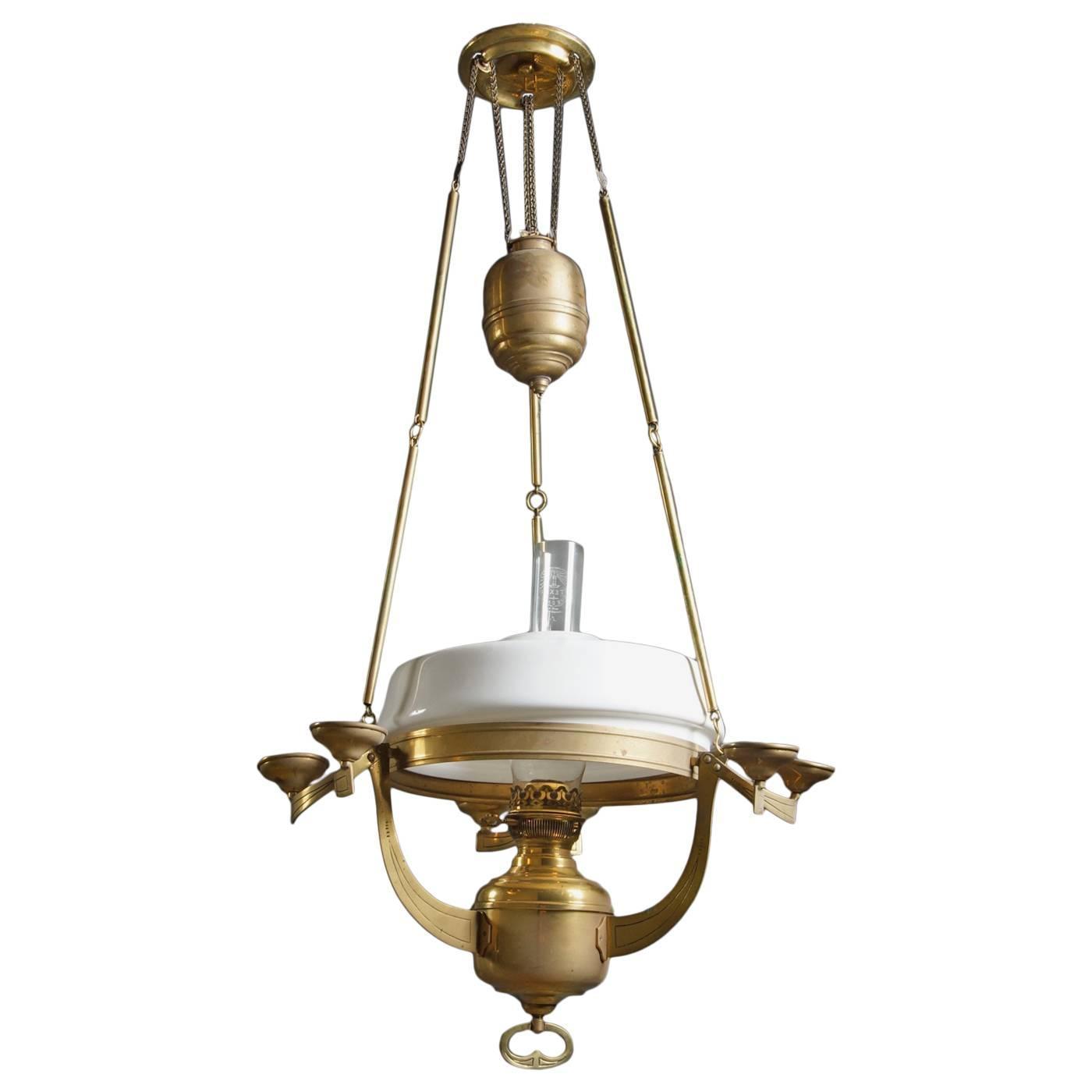 nouveau brass kerosene petronella oil hanging lamp for sale at 1stdibs. Black Bedroom Furniture Sets. Home Design Ideas