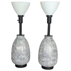 Pair of Psychedelic Overlay Glass Table Lamps