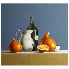 """Pumpkins on Blue Background"" Painting by Stefaan Eyckmans"