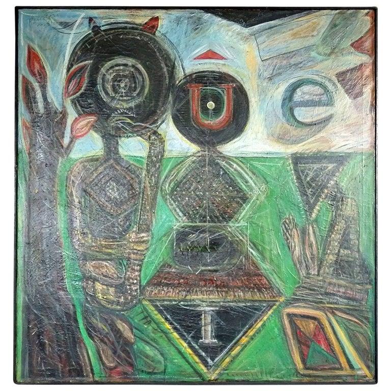 James C. Harrison Modernist Oil on Canvas For Sale