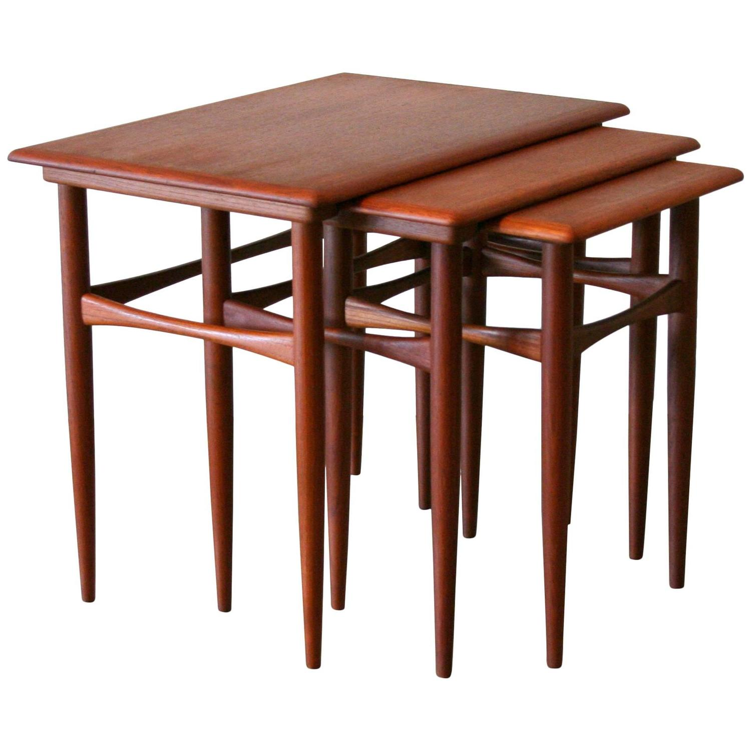 Teak Nesting Tables ~ Vintage danish teak nesting tables at stdibs