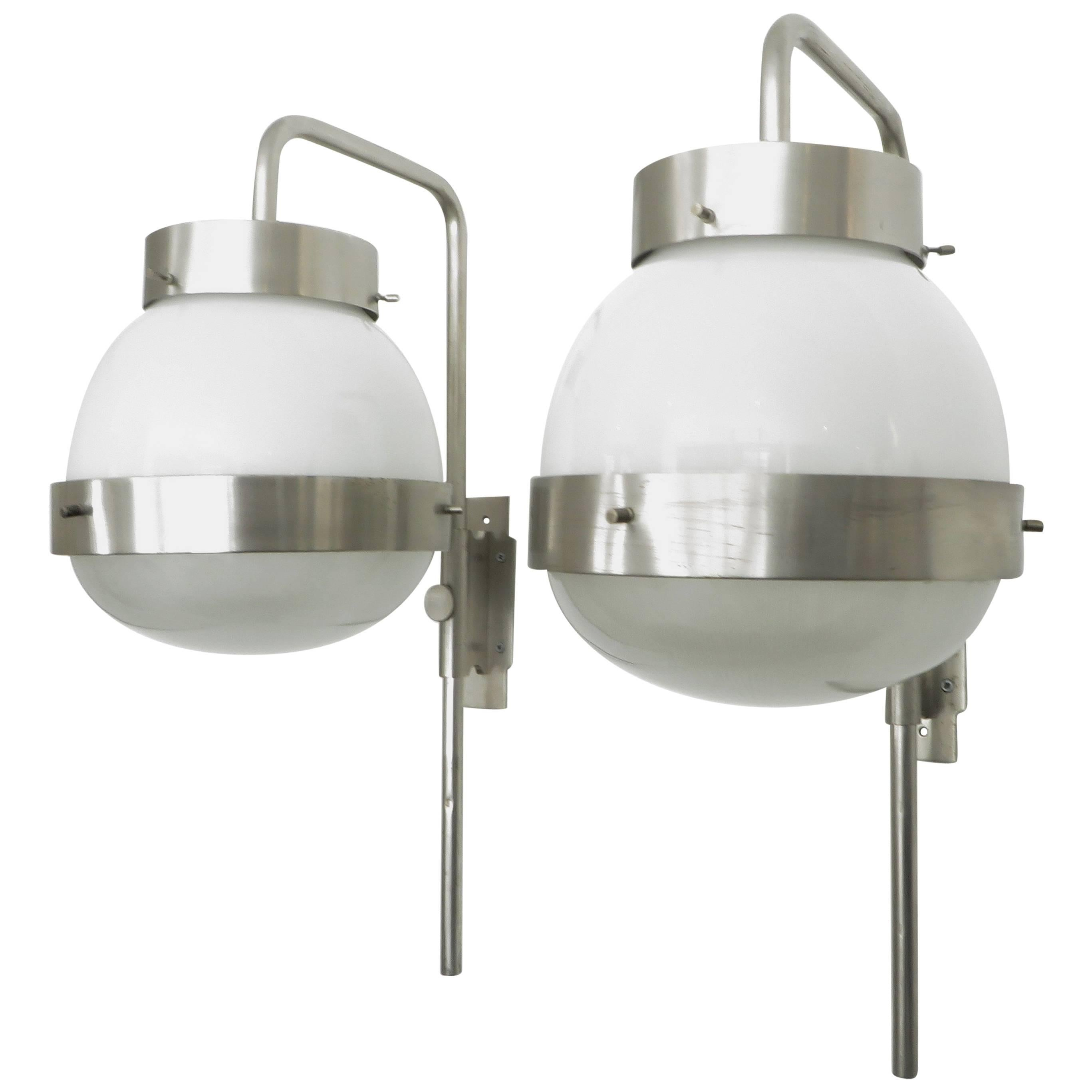 Pair of Sergio Mazza Italian Glass and NIckel Vintage Delta Sconces by Artemide