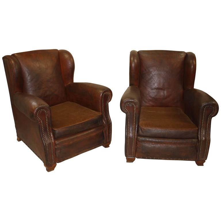 Pair Of French Leather Club Chairs For Sale At 1stdibs