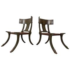 Pair of Snake Skin Klismos Chairs after Robsjohn-Gibbings