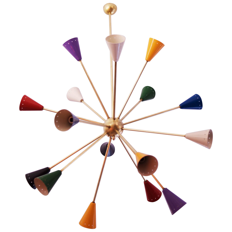 Colorful Sputnik Chandelier in the Style of Stilnovo